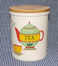 "Vtg 80s-90s T & G Green Cloverleaf TEA 'teapot' storage jar beech lid 6"" 15.25cm"