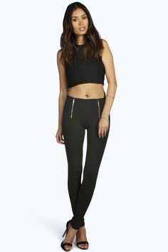 Zip Detail Side Trim Stretch Trousers black