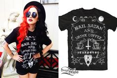 At Warped Tour today Ash Costello wore the Hail Satan & Drink Coffee Mens T-Shirt ($24.00) from Blackcraft, also available as a womens tee ($26.00) and a tank top ($27.00).