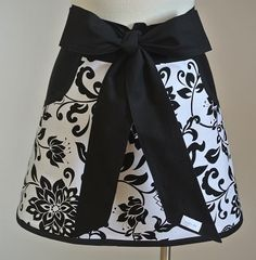 Black and White Print with Black Pockets and Ties by LizzysBiz, $24.00