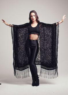 Velvet Fringe Kimono  Femme Fatale Maxi by shevamps on Etsy, £149.00