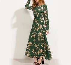 Green A-line Dress with Blossoms