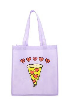 """A woven shopper tote bag featuring a two-sided graphic of a pizza with heart-shaped pepperoni, """"Pizza"""" in individual heart graphics, and dual shoulder straps."""
