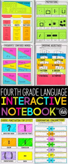 Fourth Grade Language Interactive Notebook. Cover all Common Core Language standards in an engaging and memorable way. Fourth Grade Writing, 4th Grade Ela, 5th Grade Reading, 4th Grade Classroom, Third Grade, Classroom Ideas, Teaching Grammar, Teaching Language Arts, Classroom Language