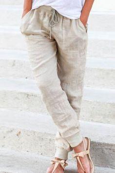 Women s Trendy Elastic Waist Pure Color Pants