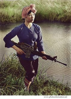The war in Vietnam. Girl with M-16. 1972 (my colorized version)