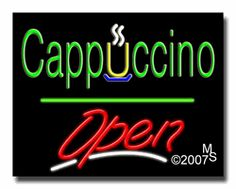 "Cappuccino Open Neon Sign - Script Text - 24""x31""-ANS1500-1868-3g  31"" Wide x 24"" Tall x 3"" Deep  Sign is mounted on an unbreakable black or clear Lexan backing  Top and bottom protective sides  110 volt U.L. listed transformer fits into a standard outlet  Hanging hardware & chain included  6' Power cord with standard transformer  Includes 2nd transformer for independent OPEN section control  For indoor use only  1 Year Warranty on electrical components."