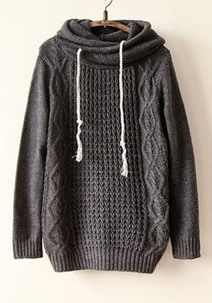 Gray Plain Lotus Collar Hooded Sweater