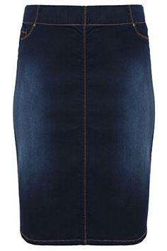 03f66256e35 Yoursclothing Plus Size Womens Indigo Denim Pull On Midi Pencil Skirt Size  26 Blue Denim Pencil
