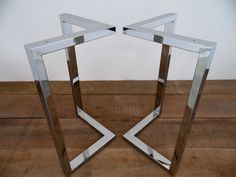 """28"""" x 28"""" Bracket Table Legs, Stainless Steel, HEIGHT 26"""" to 30"""" SET(2)"""