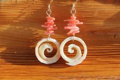 Pink coral and shell earrings by KalaiLeaDesigns on Etsy https://www.etsy.com/listing/118010237/pink-coral-and-shell-earrings