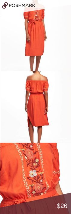 """Old Navy Women's Embroidered Off The Shoulder Midi BRAND NEW JUST WITHOUT TAGS. Product Details.   100%Rayon.  Size: XXL The dress that asks: """"can you come out to play?"""" All work and no play makes everyone dull. So give this breezy off-shoulder midi a whirl at your next vacay, shindig, brunch, what-have-you. You won't regret it. Elasticized off-shoulder neckline. Short sleeves with elasticized cuffs, with embroidered accents. Contrasting embroidery down center front. Elasticized waist, with…"""