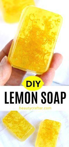 DIY Lemon Soap - easy melt and pour soap with lemon zest and essential oils Handmade Soap Recipes, Soap Making Recipes, Handmade Soaps, Diy Soaps, Zest Soap, Soap Melt And Pour, Shower Jellies, Lemon Soap, Soap Making Supplies