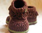 Crochet patterns -  Fringe Baby Booties - PDF pattern  - Pattern number 207 Instant Download