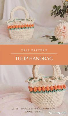 This is a tulip handbag crochet pattern. It is perfect … Crochet Bee, Crochet Gifts, Cute Crochet, Diy Crochet Bag, Crotchet Patterns, Crochet Basket Pattern, Crochet Patterns Amigurumi, Crochet Handbags, Crochet Purses