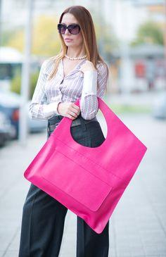 Fuchsia Leather Bag Leather Tote Bag leather shoulder