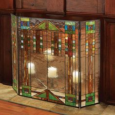 Prairie Style Glass Fireplace Screen - Tiffany Style Mission Fireplace Surround at Signals