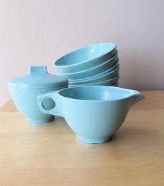 aqua blue vintage melmac bowls sugar and creamer by ionesAttic, $18.00