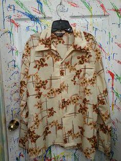 Men's vintage long sleeve button down nylon polyester disco pimp shirt size XLarge XL 1X Cream Tan Brown Plaid Floral Design 1970s by RagsAGoGo, $25.00