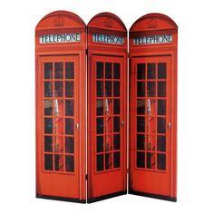 CABINE UK wooden folding screen in red W 150cm