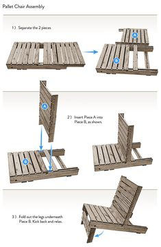 Grey Wood Lazy Chair Pallet Patio Furniture Awesome Outdoor DIY Pallet Patio Furniture Ideas Interior Design, Furniture, Home Accessories, Outdoor homemade pallet patio furniture. cushions for pallet patio furniture. Pallet Chair, Pallet Furniture, Furniture Ideas, Pallet Futon, Furniture Inspiration, Antique Furniture, Modern Furniture, Pallet Crafts, Diy Pallet