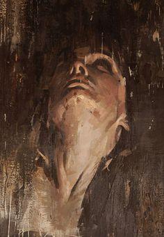 """Infinite"" - Yuriy Ibragimov, encaustic wax on linen, 2013 {contemporary figurative artist female head monochromatic brown woman face portrait cropped painting}"
