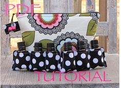 This listing is for a PDF tutorial for an essential oil bag to hold 14-20 essential oil bottles. The tutorial is 21 pages long and has 28 full color