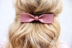 Hair accessory: hair bow bows dusty pink blonde hair hair/makeup inspo hair adornments