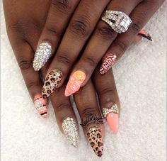 Leopard, stones, and coral flowers, stripes and swirls