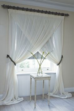 Cool way to hang curtains - love! - Click image to find more Home Decor Pinterest pins by ajct
