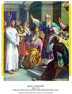 Bible Story Pictures - The Trial of Jesus - The Scripture Lady Bible Pictures, Jesus Pictures, Jesus Stories, Bible Stories, Bible Quiz, Bible Illustrations, Christian Images, Biblical Art, Holy Week