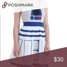 🎊HP 2/5🎊Her Universe Star Wars R2D2 Dress Dress is fit & flare style. 95% cotton 5% spandex. Per the Her Universe website, 2X equivalent is 18/20. I wear a 14/16 & am a 40G & the dress fits perfectly. It does have stretch, so it might fit a larger size. Pics of actual dress to come tonight. Her Universe Dresses