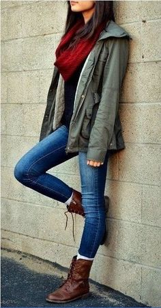 Jacket. Scarf. Jeans. Boots.