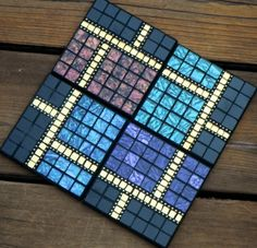 Shop for coasters on Etsy, the place to express your creativity through the buying and selling of handmade and vintage goods. Mosaic Tray, Mosaic Tile Art, Mosaic Glass, Mosaics, Stained Glass, Glass Art, Tile Crafts, Mosaic Crafts, Mosaic Projects