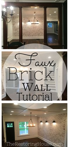 Hands down, the most talked about element in the Mulberry House is the faux brick wall. Not one person stepping into the dining room for the first time thought that it wasn't real exposed brick. Basement Remodeling, Remodel, Diy Renovation, Diy Remodel, Home Diy, Home Addition Plans, Basement Decor, Faux Brick Walls, Home Remodeling Diy