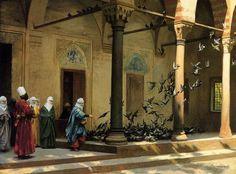 Jean-Léon Gérôme ( French  , 1824 – 1904)  – Harem Women Feeding Pigeons in a Courtyard