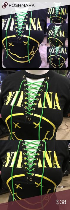 Nirvana custom lace up shirt Nirvana custom lace up rock band tee. Handmade on of a kind.  Tags: Yeezy, yeezus, baby yeezy, baby yeezus, band shirts, yeezy season 3, God wants you, Kylie lip kit, Kim kardashian, Guns N' Roses, Ramones, pantera, Slayer, the Beatles , kiss, Rolling Stones, supreme, bape, ape, sharkhoodie, adidas Tops Tees - Short Sleeve