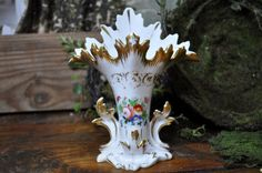 Old Paris Vase, Antique Flower Vase, porcelain, floral, French tiny chip,  Made in France, Beautiful flowers and gold trim