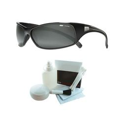 2d107e78e29604 Bolle 10405 Recoil Polarized Shiny Black Sunglasses w Deluxe Cleaning Kit    Click on the image