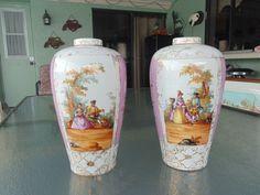 2 Vintage Antique 1800's LIMOGES Pair FINE Hand Painted Porcelain Vases