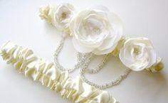 Bridal Garter Set Elegant Wedding Ivory with by NatalieBriggs, $49.00