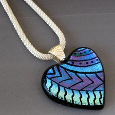 Dichroic Fused Glass Hand Etched  Pendant Valentine by GlassCat, $35.00