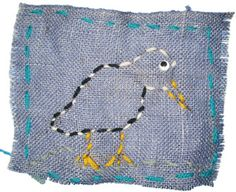"use marker or pencil first to draw outline directly on burlap first and -- ""follow that line"" while weaving"