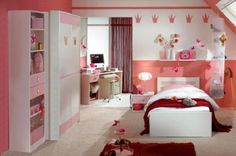 Girls Bedrooms red white