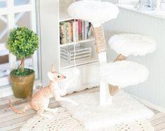 Gato BJD, muñeca gato, árbol del gato, subir post rayado accesorios bjdcat elleocat, evethecat, Roombox, accesorios diorama, casa de muñecas