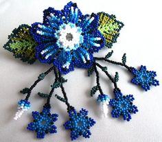 Mexican Huichol Beaded Flower Hair clip
