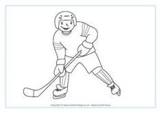 Ice Hockey Coloring Page: Winter Olympics Crafts for Kids. #StayCurious