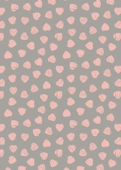 A168.3 - Pink hearts on dove grey