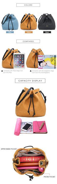 Women PU Leather Bucket Bags Hobos Handbags Shoulder Bags