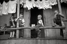 """September 1938. """"Coal miner's children and wife, Pursglove, West Virginia."""" 35mm nitrate negative by Marion Post Wolcott for the FSA."""